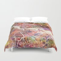 amsterdam Duvet Covers featuring Amsterdam by MapMapMaps.Watercolors