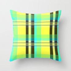 Yellow Aqua Brown and Green Plaid Throw Pillow