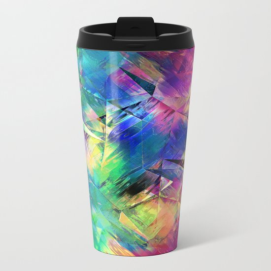 Abstract Colorful Shapes and Textures Metal Travel Mug