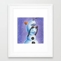 olaf Framed Art Prints featuring Olaf by Dee J.