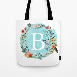 Personalized Monogram Initial Letter B Blue Watercolor Flower Wreath Artwork Tote Bag