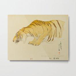 Sketch of Tiger Zoological Garden Vintage Beautiful Japanese Woodblock Print Hiroshi Yoshida Metal Print