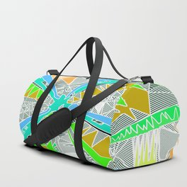 psychedelic geometric pattern drawing abstract background in blue green yellow brown Duffle Bag