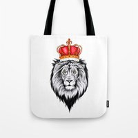 the lion king Tote Bags featuring Lion King by Libby Watkins Illustration