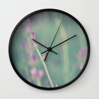 lavender Wall Clocks featuring Lavender by Light Wanderer