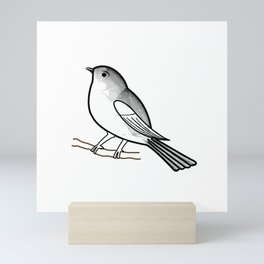 Cute bird on a twig- Tiny sparrow drawing in shades of grey Mini Art Print