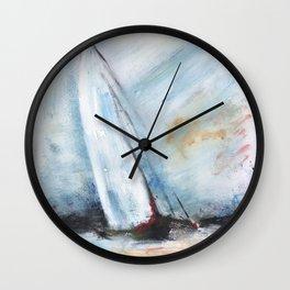 oil paint sailboat Wall Clock