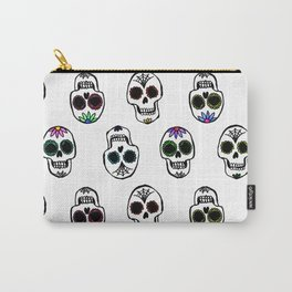 Sugar Skull Pattern on White Carry-All Pouch