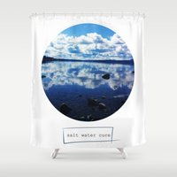 salt water Shower Curtains featuring salt water cure by fluidgold