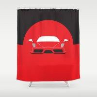 ferrari Shower Curtains featuring Minimal Enzo Ferrari by Distilled Designs