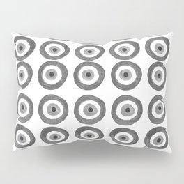 Evil Eye Amulet Talisman Black White Gray on white Pillow Sham