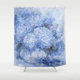 Hydrangeas in Blue Shower Curtain