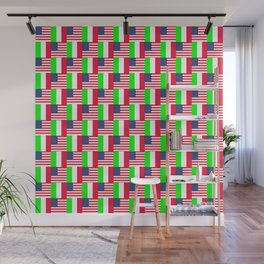 Mix of flag: Usa and Italy Wall Mural