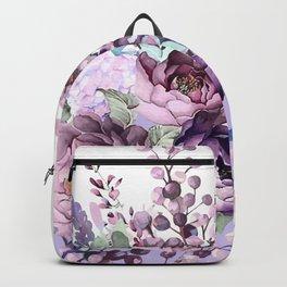 Purple flowers. Roses, peonies, gerberas, gladioli. Watercolor. Backpack