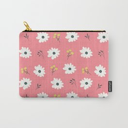 Modern hand painted pink white yellow floral illustration Carry-All Pouch