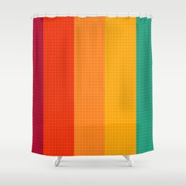 WARM SUNSET GRID Shower Curtain