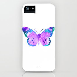 Pink-Lilac Butterfly With Glitter Blue Trim iPhone Case