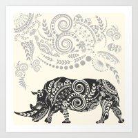 rhino Art Prints featuring Rhino by famenxt