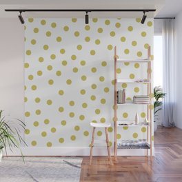Simply Dots in Mod Yellow on White Wall Mural