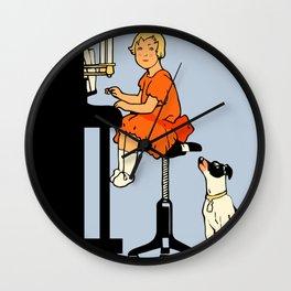 Dog day music retro style Wall Clock