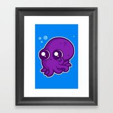 Super Cute Squid Framed Art Print
