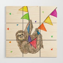 Sloth with Bunting #3 Wood Wall Art