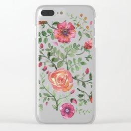 Watercolor floral roze Clear iPhone Case