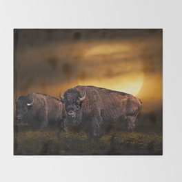 American Buffalo Bison under a Super Moon Rise Throw Blanket