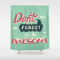 risa rodil Shower Curtains featuring DFTBA by Risa Rodil