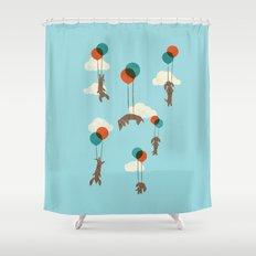 Flight of the Wiener Dogs Shower Curtain