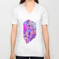 geode V-neck T-shirts featuring Handpainted Watercolor Geode by Hillary Murphy