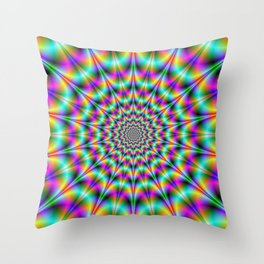 Psychedelic Color Explosion Throw Pillow