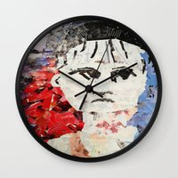 les miserables Wall Clocks featuring LES MISERABLES by JANUARY FROST