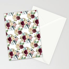 Burgundy ivory green watercolor boho floral pattern Stationery Cards