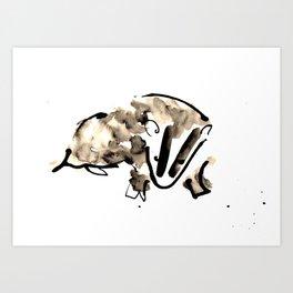 British Badger Ink and Watercolour Illustration Art Print