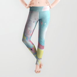 Abstract pastel pink blue teal yellow watercolor marble Leggings