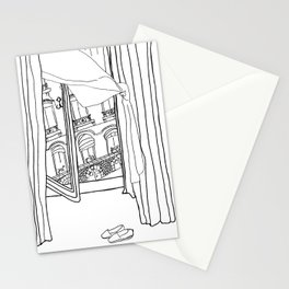 Window View in France  //  ink drawing Stationery Cards