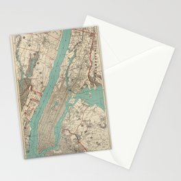 old vintage map of new york Stationery Cards
