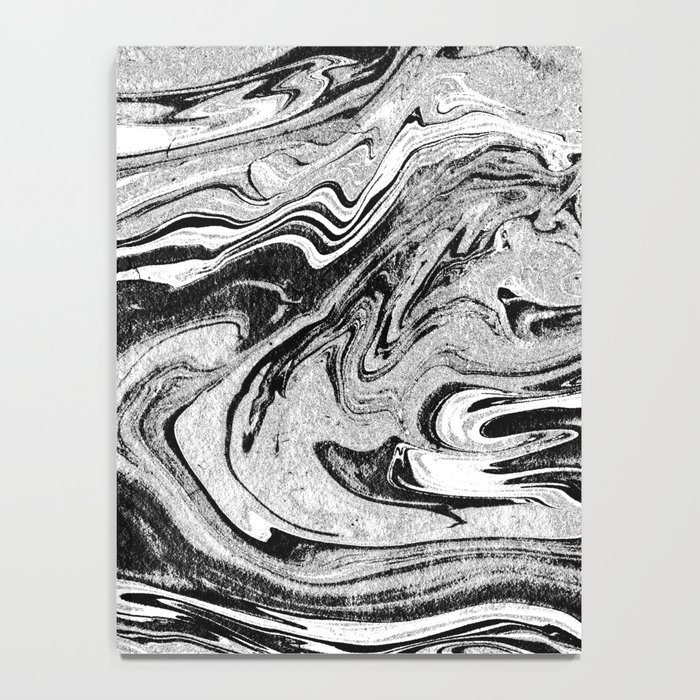 Masuki - black and white minimal spilled ink marbled paper marble texture marbling marble painting Notebook