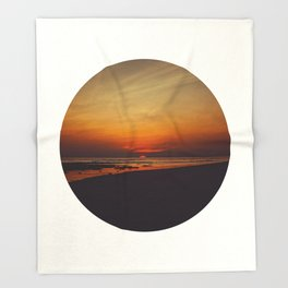 Mid Century Modern Round Circle Photo Graphic Design Orange Sunset Above Beach Throw Blanket