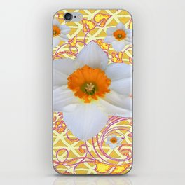 WHITE DAFFODILS DELICATE VIOLET SCROLLS ART  PATTERN iPhone Skin