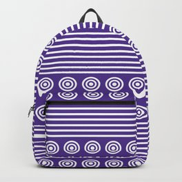 Purple and White Horizontal Stripes and Circles - Purple Series Backpack