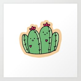 Cutesy Cacti Twins with Flowers Art Print