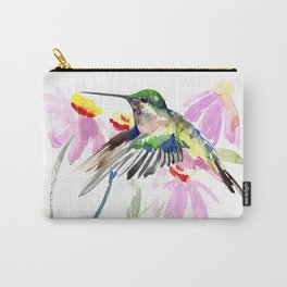 Hummingbird and Light Purple Flowers Carry-All Pouch