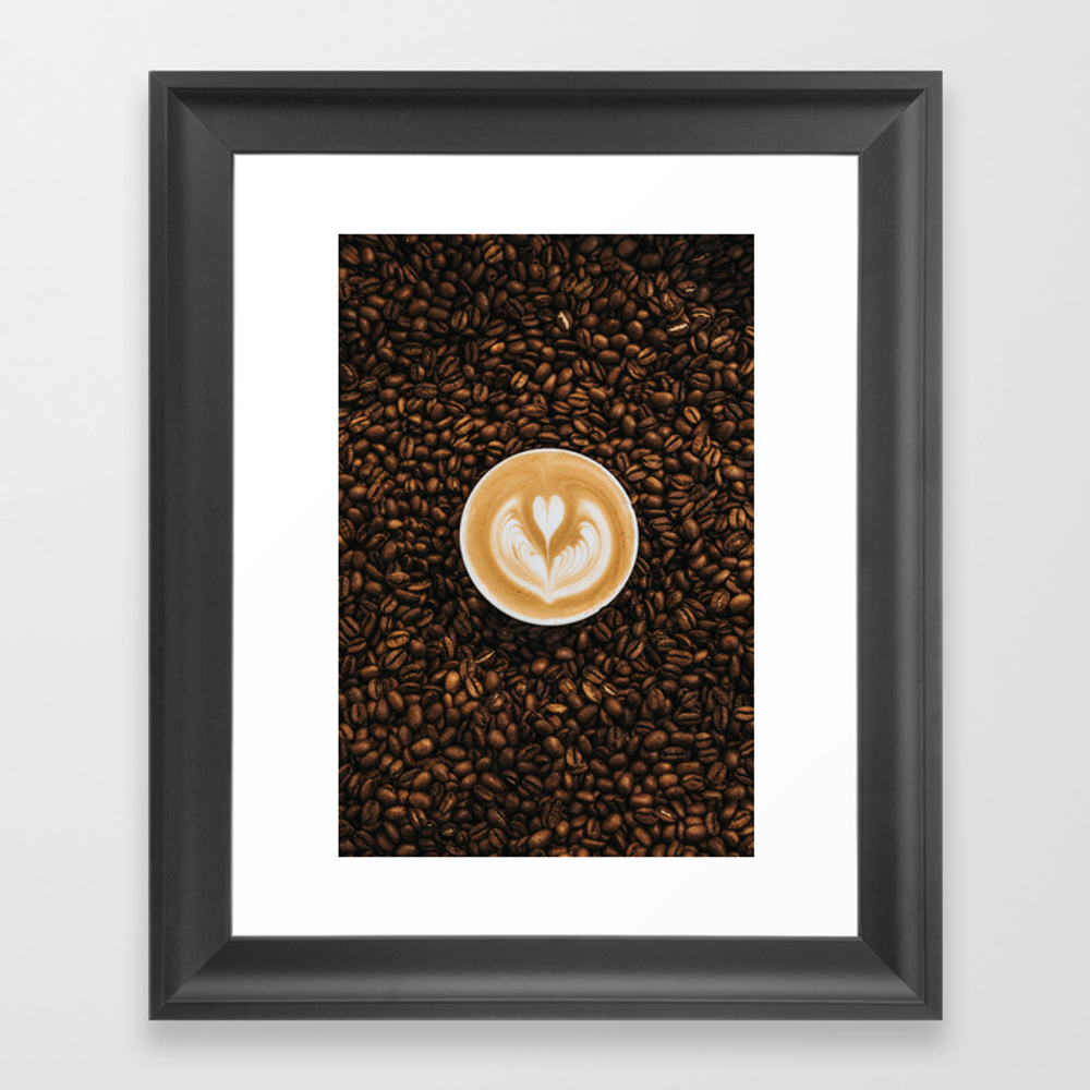 Coffee Beans Coffee Cup Framed Art Print by Newburydesigns FRM8837339