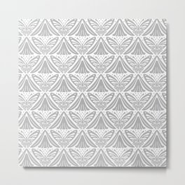 Butterfly and Flower Pattern Gray Metal Print