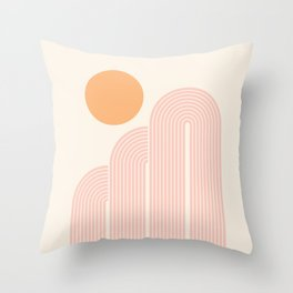 Mid Century Modern Geometric 41 in Coral Shades (Rainbow and Sunrise Abstraction) Throw Pillow