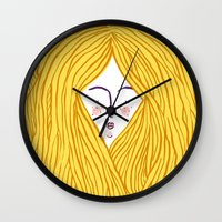 blondie Wall Clocks featuring Blondie by Katie L Allen