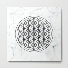 White Marble Flower of Life + Donation to CA Wildfire Relief Metal Print