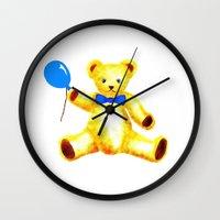 teddy bear Wall Clocks featuring Teddy Bear by Artisimo (Keith Bond)